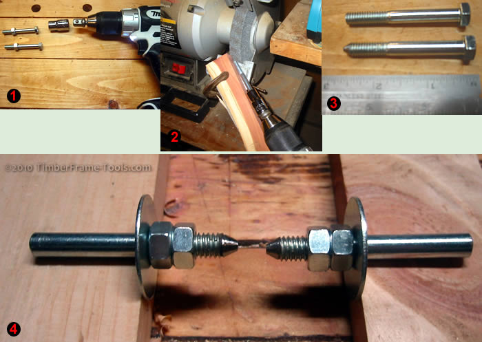 Transform a bolt into a dead center for a lathe