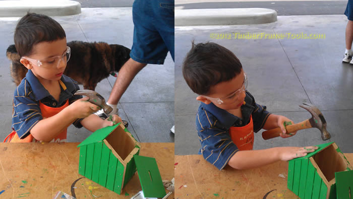 Hammering at Home Depot Kid Workshop