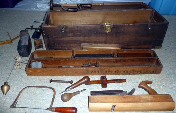 antique carpenter's toolbox opened