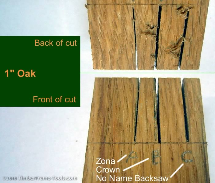 Dovetails saw cuts in Oak